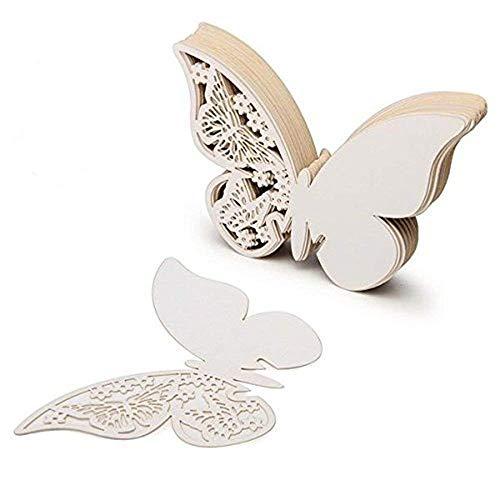 ElecMotive Lot de 100 Papillons 3D Carte de Verre Marque Place Forme de Papillon Ajouré Décoration de Table pour Fêtes Mariage (Blanc)