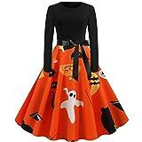 LINLIN Bata Disfraces de Halloween Vestidos de Fiesta Mujer Manga Larga Estampado de CalaveraPin up Vestido Rockabilly hasta la Rodilla Otoño Invierno