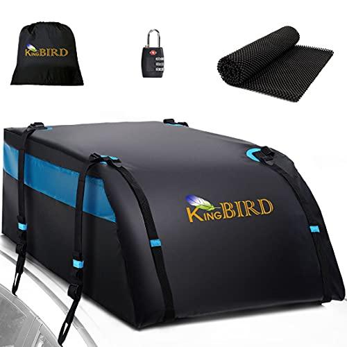 KING BIRD 100% Waterproof Roof Cargo Carrier Bag with Non-Slip Mat, 20 Cubic Feet Aerodynamic Car...
