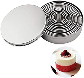 12 Pcs/Set Stainless Steel Round Shape Cutting Mould Multi Size Mousse Cake Ring Mold Jelly Chocolate Pastry Cake Baking G...