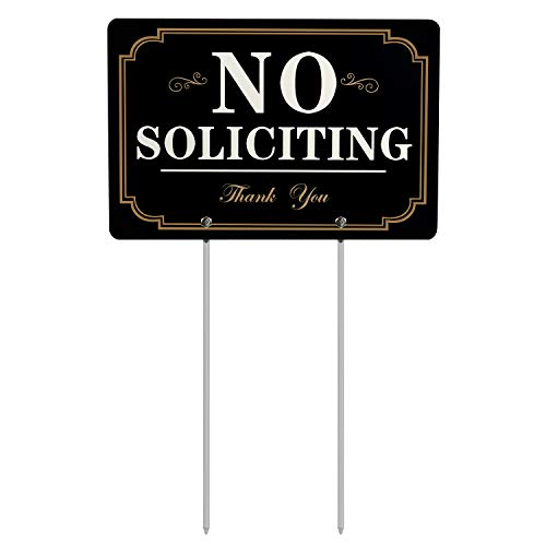 HISVISION No Soliciting Sign for Yard, All Metal Construction Long Metal Stakes Included, Outdoor No Soliciting Sign House