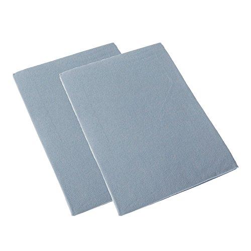 HOMESCAPES - Lot de 2 draps Plats Bleu pour lit bébé 100% Coton - 100 x 150 cm
