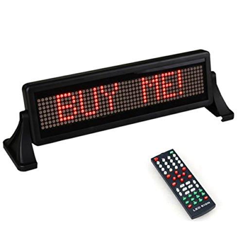 C-FUNN Mini 12V Voiture Faire Défiler Affichage Panneau Lumineux Télécommande Mobile Stop Message Rouge