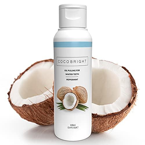 COCO BRIGHT Aceite de Coco para Blanquear Dientes - Aceite de Coco Dientes para Higiene Bucal - Combate Mal Aliento y Previene Caries - Alternativa Ideal a Carbon Activo Dientes y Pasta de Coco, 100ml