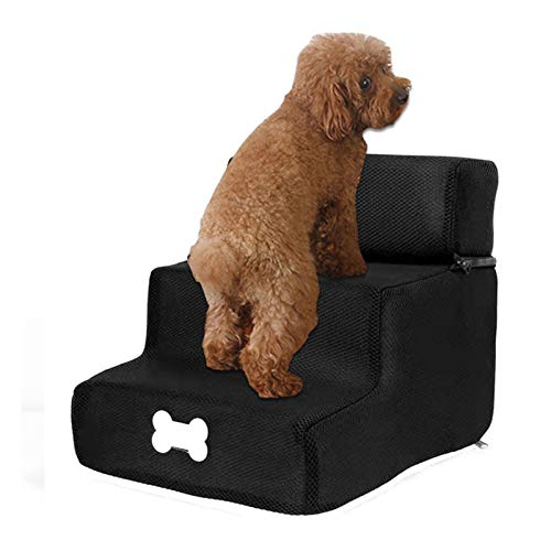 Escalera para perros de 3 peldaños, escalera para perros, gatos, pequeños animales, ancianos, fácil escalera, ayuda de inclinación