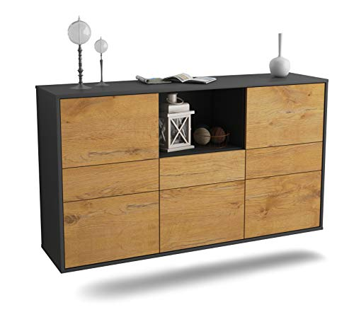 Dekati Sideboard Pomona hängend (136x77x35cm) Korpus anthrazit matt | Front Holz-Design Eiche | Push-to-Open | Leichtlaufschienen