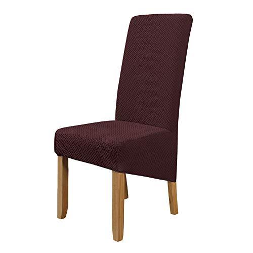 LiveGo Fundas de sillas de Comedor elásticas de tamaño Gran, 6 Piezas Fundas de sillas extraíbles Lavables para Comedor, Hotel, Banquete(marrón)