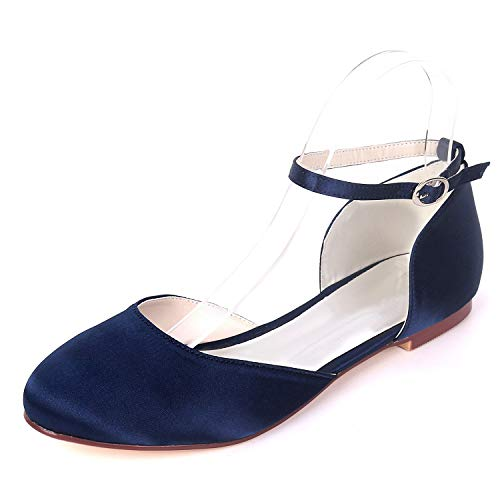 Myloo Women's Navy Comfort Mary Jane Flats Closed Toe Pumps Satin Bridal Wedding Shoes 10B US