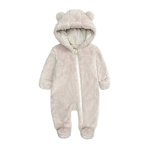 HUBA Neugeborenes Baby Strampler Mit Kapuze Cartoon Fleece Overall Verdicken Jumpsuit Winter Warme Schneeanzug für Jungen Mädchen(0-12 Monate)