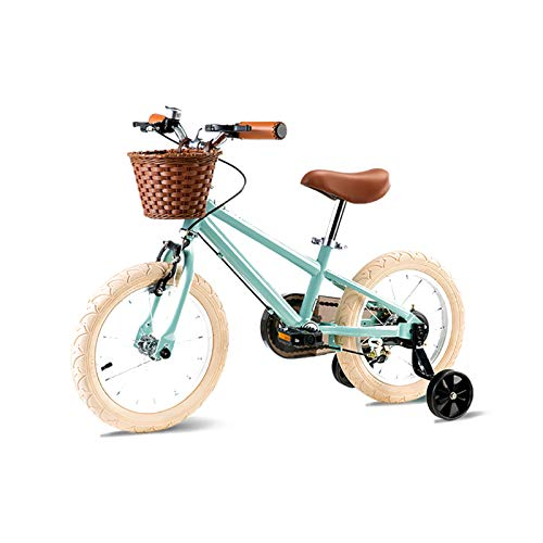 MIAOYO Bicicleta Al Aire Libre con Ruedas De Entrenamiento,Niños Bicicleta para Niños Y Niñas,Bicicleta Boy Girls City con Asiento Ajustable Y Tija De Sillín,Verde,14'