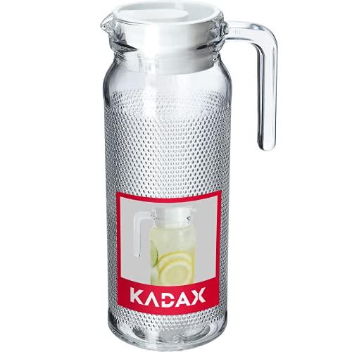 KADAX Universale Kanne, Krug aus robustem Glas, 9 cm x 12,5 cm x 24,5 cm, Glaskrug mit Deckel, Wasserkrug mit bequemem Griff, Glaskaraffe für kalte Getränke (1L, Gepunktet)