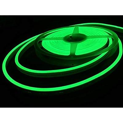 iNextStation Neon LED Strip Light 16.4ft/5m 12V DC 600 SMD2835 LEDs Waterproof Flexible LED NEON Light for Indoors Outdoors Decor [ Green   No Power Adapter]