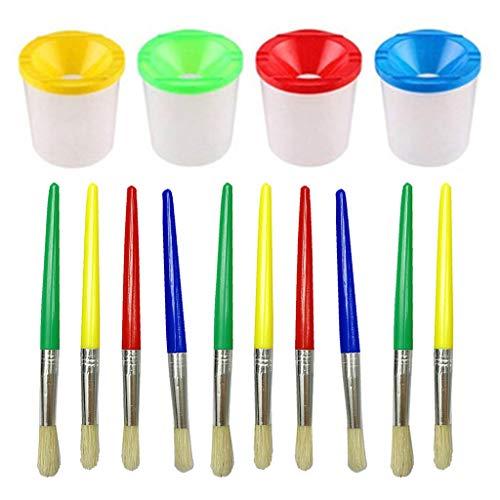 MYhose No Spill Paint Cups Set mit Deckeln und Pinseln für Watercolors Art 14 Pieces Color Random