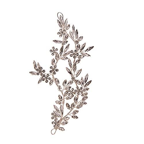 Chuanhao Diadema con diseño de hojas con diamantes de imitación, para mujeres y niñas