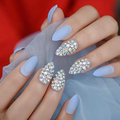 CLOAAE Fascinating Blue Acrylic Nails Nails Tips On Art Handmade Design Medium Nails