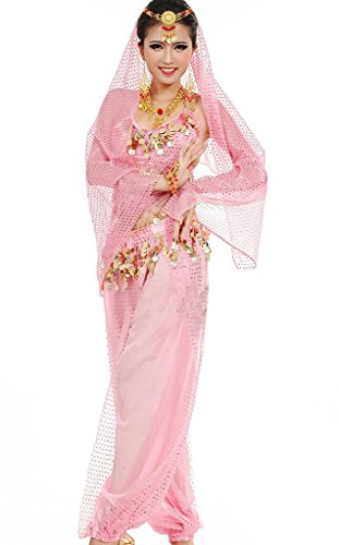 Astage Damen Bauchtanz Kostüme Set Indischer Tanz Darbietungen Kleidung , pink Pink, Fits DE 32-40