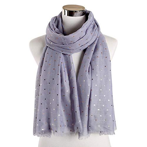 MYTJG Lady sjaal Mode Zwart Grijs Foil Goud Zilver Glitter Star Print Sjaal Sjaal Sjaal Turban Vrouw Warm Comfortabel Warm