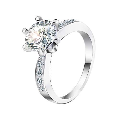 CommittedeMode Elegante Ring Diamant Intarsien Silber Ring für Frauen Mädchen Schmuck Geschenk Shiny Strass Romantische Ring Freundin Lieblings Urlaub Geschenk Elegante