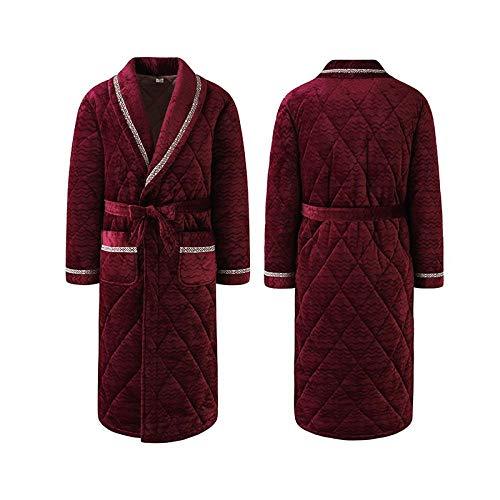 nohbi Bademantel Baumwolle Morgenmantel,Hochwertiger dreilagiger gesteppter Pyjama aus Korallenvlies,verdickter Thermopyjama-B_XXL,Damen Herren Saunamantel