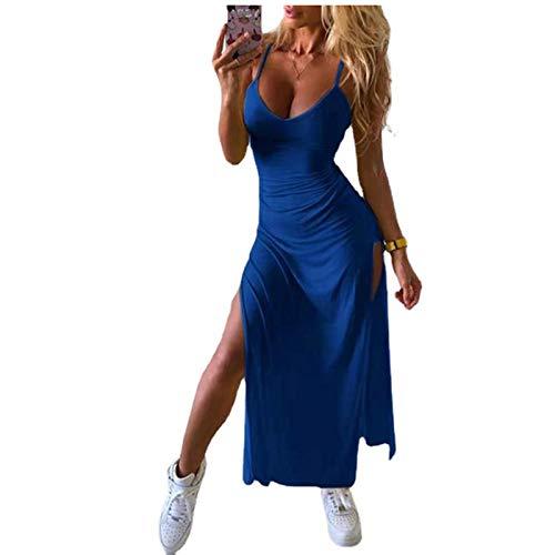 BHYDRY Damen Kleider Sommer LäSsig Temperament äRmellos Einfarbig Sexy V-Ausschnitt Taille Eng Geschlitzt HosenträGer Kleid Freizeitkleid Cocktailparty Abendkleid Cocktailkleid