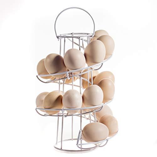 KYY Egg Skelter Spiral Metal Display Egg Dispenser Modern Egg Holder(White)