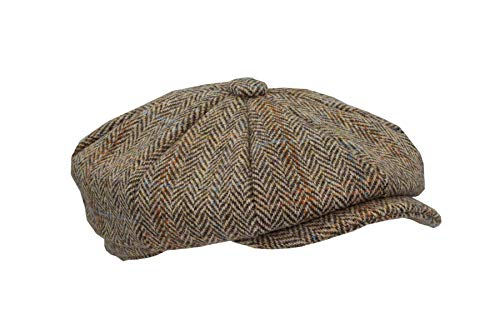 Walker and Hawkes - Coppola in Harris Tweed a 8 Pannelli - Stile Bakerboy/Newsboy - Unisex - Sabbia Chiaro - L (59cm)