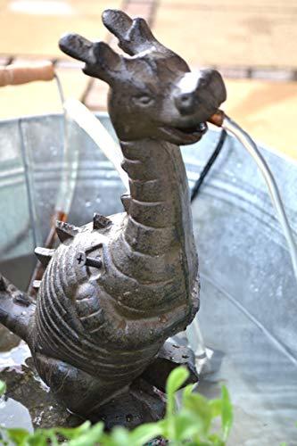 Wasserspeier Drache - jetzt mit stärkerer Pumpe 7 Watt-lustiger Stabiler Wasserspeier mit Pumpe für den Teich, Gusseisen, schwere Ausführung, Höhe 25 cm, Breite 22 cm, Tiefe 11 cm