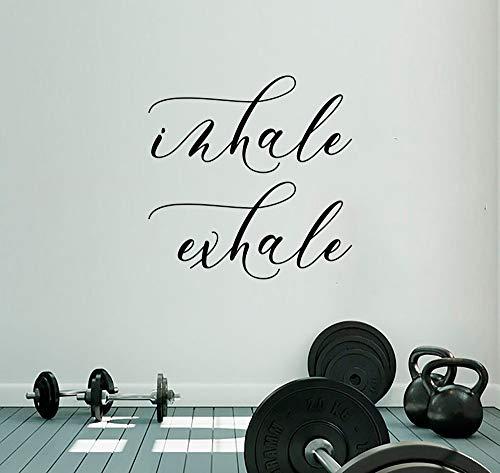 Queen54ferna Inhale Exhale - Calcomanía de pared para yoga, tipografía, calcomanía para respirar para pared, diseño de club deportivo, estilo bohemio, tipografía