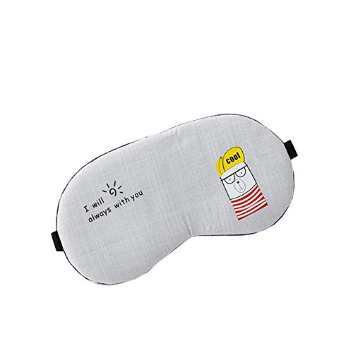 Blindfold - Cartoon sleep eye mask Couple men and women comfortable eye mask Hot and cold compress (Color : Light gray)