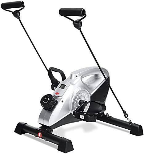 Mini bicicleta estática con pedal, entrenamiento en casa, entrenamiento de brazos y piernas, bajo la mesa con monitor LCD y resistencia ajustable para piernas y brazos