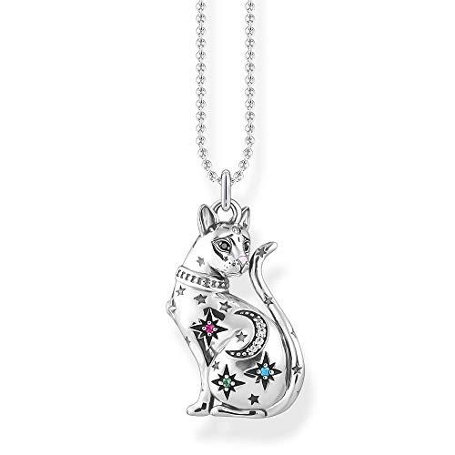 Thomas Sabo Collar para mujer de plata de ley 925, diseño de gato y estrella, 38-42 cm de longitud