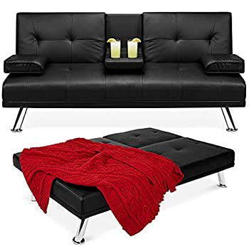 Best Choice Products Faux Leather Upholstered Modern Convertible Folding Futon Sofa Bed for Compact Living Space Apartment Dorm Bonus Room w/Removable Armrests Metal Legs 2 Cupholders - Black