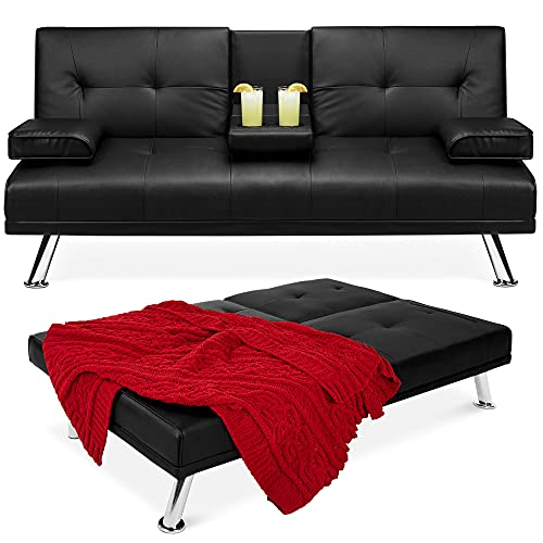 Best Choice Products Faux Leather Upholstered Modern Convertible Folding Futon Sofa Bed for Compact Living Space, Apartment, Dorm, Bonus Room w/Removable Armrests, Metal Legs, 2 Cupholders - Black