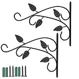 YIDE 2 PCS Plant Hooks & Hangers Hanging Brackets Cast Iron 4Pcs Leaves Design Brackets Wall Hanging Hooks Bracket Hanger for Indoor Outdoor Plants Bird Feeder Lantern Planters Flower Pots Wind Chimes