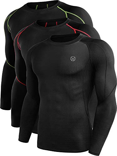 Neleus メンズ 3パック ドライフィット 長袖 コンプレッションシャツ ワークアウト ランニングシャツ US サイズ: Medium カラー: ブラック
