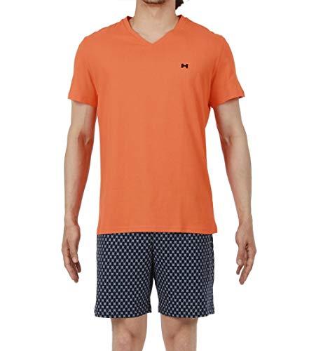 Hom Short Sleepwear Pigiama, Arancione (Haut: Orange Bas: Imprimé Étoile Fond Marine), Small Uomo