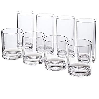 Classic 8-piece Premium Quality Plastic Tumblers | 4 each: 12-ounce and 16-ounce Clear