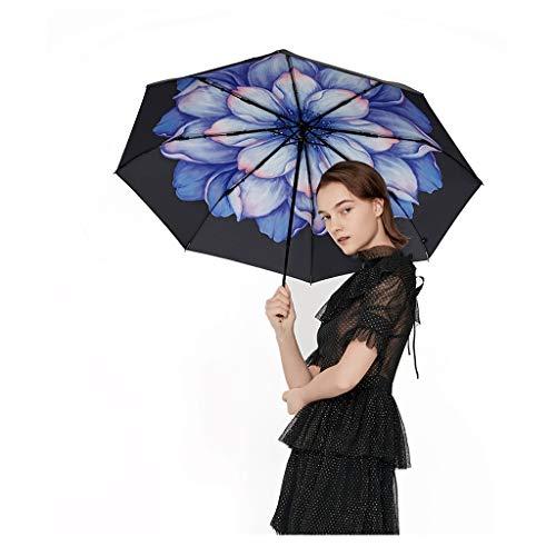 Sonnenschirm Sonnenschutz Kleiner Schwarzer Regenschirm Taschenschirm Weiblicher UV Doppelschirmgewebe Technische Beschichtung