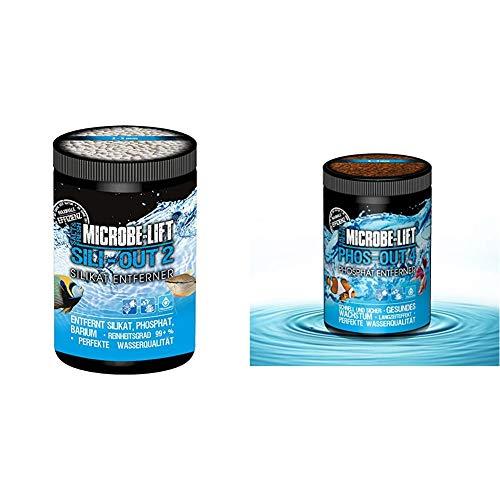 MICROBE-LIFT Sili-Out 2 - Silikat- und Phosphat Entferner auf Aluminiumbasies für Süß- und Meerwasser, 1 l, 720 g & Phos-Out 4 Filtermedium – Phosphat Entferner für Süßwasser und Meerwasser, 625g