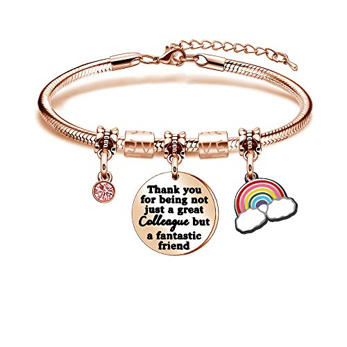 Kraven Colleagues to Colleagues Bracelet Adjustable Snake Bangle Rose Gold Jewellery Family Christmas Gifts For Women Teenage Girls Thank you for being not just a great