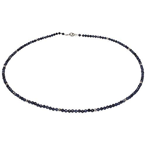 Edelsteincollier Saphir facettiert, Ø 3 mm, ca. 44 cm, 925oo Silber Schloß, Damen