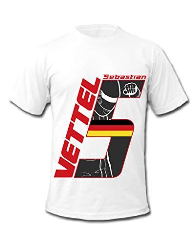 Cold Gun F1 Sebastian Vettel 5 Formel 1 Rennfahrer T-Shirt Gr. XL, weiß
