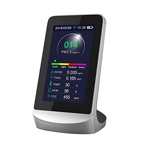 Kecheer WIFI Medidor dioxido carbono/PM 2.5/HCHO/TVOC, Medidor de co2 en aire,Detector de gas compatible con Tuya APP