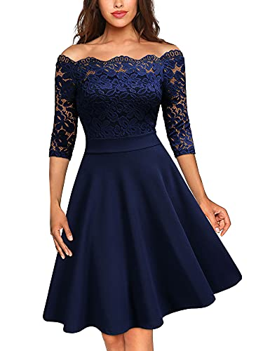 MISSMAY Women's Vintage Floral Lace Half Sleeve Boat Neck Formal Swing Dress (A-Navy Blue, x_l) (Apparel)