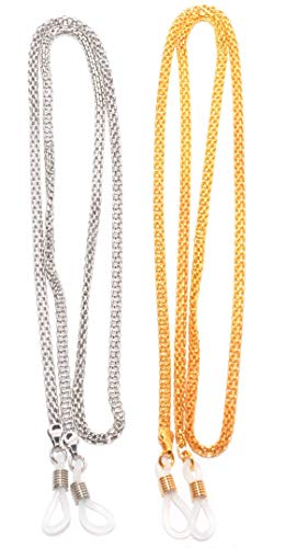 rainbow safety rainbow safety Brillenkette Brillenband Halter Lanyard Strap für Kurzsichtigkeit Lesebrillen Sonnenbrillen RC01 SET Silber+Gold farbe