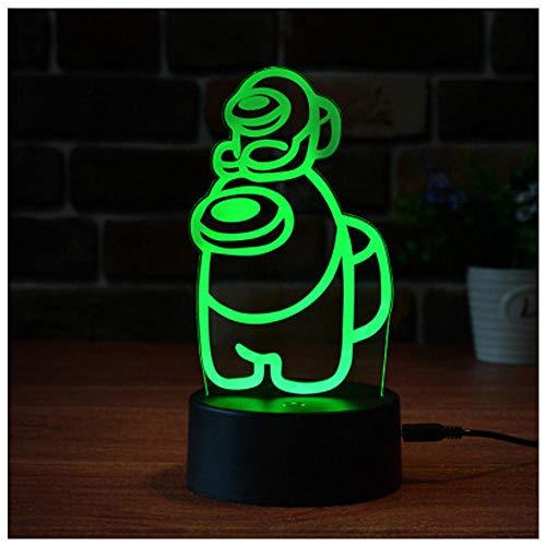 Entre nosotros 3D Illusion Table Lamp Lamp, entre los EE. UU. Juego Night Lignt, 3 Color LED Light Light USB Powered, Dormitorio Decoración Lámpara Regalo de cumpleaños Regalo-C_De un solo color