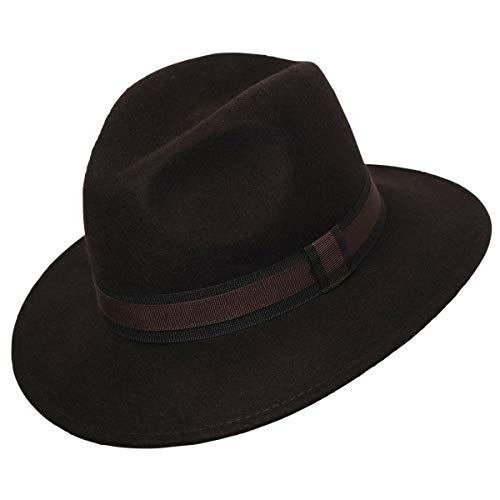 Sombrero Fedora 100% lana IDRO, marrón, 60 cm