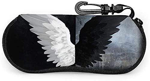 Negro Blanco Angel Wings-Azul Y Blanco Cobalt Acuarela Azulejos Diseño Mujeres Hombres Gafas Caso Con Mosquetón
