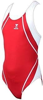 TYR Durafast Titan Optimax Girls Swimsuit–Red/White