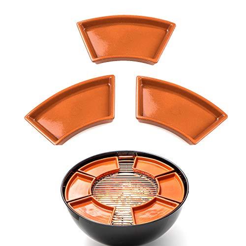 FUMOSA keramische Grillschale Ronda für 57cm Holzkohlegrills (z.B. Master-Touch) - Cazuela - Tapas Keramik Schale - 3er Set